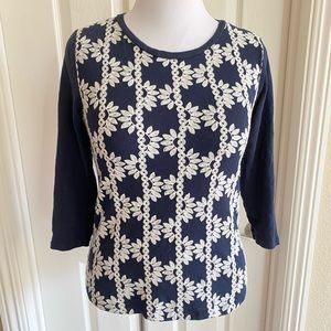 J.  CREW Womens Top Size M Embroidered Floral Tee